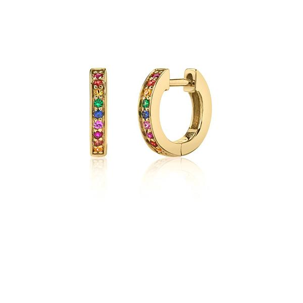 14K Yellow Gold Extra Small Rainbow Hoop Earrings, Heaven Culture Trinity Necklace, Heaven Culture Jewelry