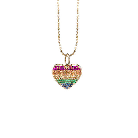 14K Gold & Rainbow Heart Necklace, Heaven Culture Trinity Necklace, Heaven Culture Jewelry