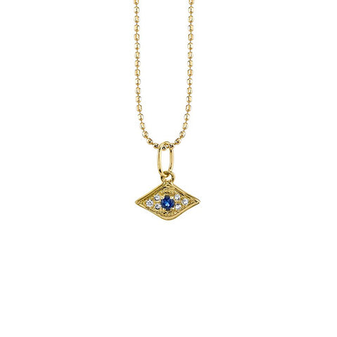 14K Gold & Diamond God's Eye Necklace, Heaven Culture Trinity Necklace, Heaven Culture Jewelry