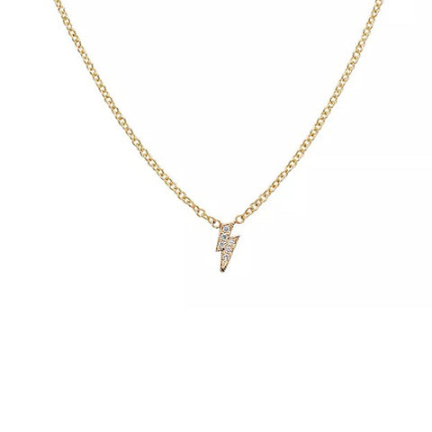 14K Yellow Gold  Diamond Lightning Bolt Necklace, Heaven Culture Trinity Necklace, Eversmart Beauty