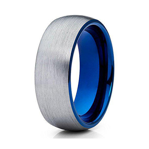 Blue Tungsten Wedding Band 8mm Gray Tungsten Carbide Ring Men & Women Tungsten Wedding Band Comfort Fit Brush, Tungsten Ring, Eversmart Beauty