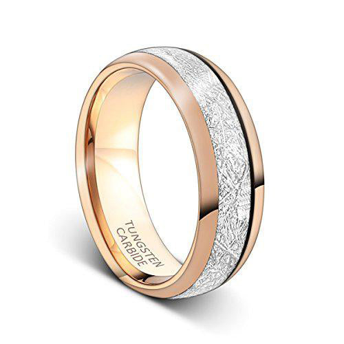 Mens Ring 8mm Rose Gold Tungsten Carbide Ring Imitated Meteorite Inlay Wedding Band, Tungsten Ring, Eversmart Beauty