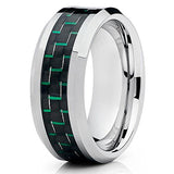 Tungsten Wedding Band Carbon Fiber Tungsten Ring 8mm Men & Women Green Tungsten Ring Tungsten Carbide Ring Anniversary Ring, Tungsten Ring, Heaven Culture Jewelry