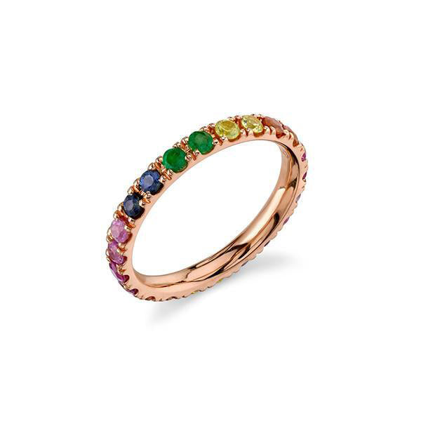 14K Gold Large Rainbow Eternity Ring, Heaven Culture Trinity Necklace, Eversmart Beauty