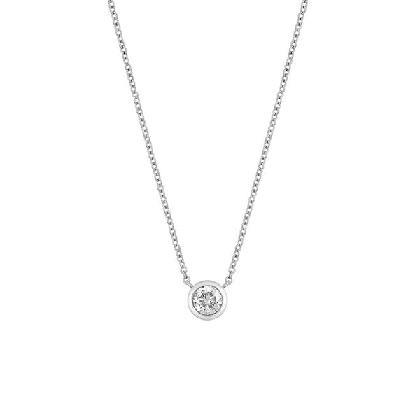 14K White Gold Bezel Set Moissanite Solitaire Pendant Necklace - 0.16 ctw, , Heaven Culture Jewelry