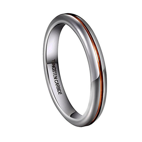 3mm Womens Wedding Band Domed Tungsten Carbide Rings Rose-gold-plated Tone Groove in the Center, Tungsten Ring, Eversmart Beauty