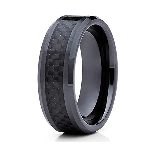 Black Tungsten Wedding Band 8mm Carbon Fiber Wedding Ring Anniversary Band Men & Women Tungsten Carbide Ring Comfort Fit Ring 8mm, Tungsten Ring, Eversmart Beauty