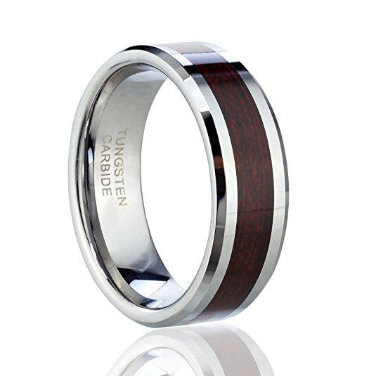 Men's wedding band Tungsten Carbide Ring with Wood Inlay, Tungsten Ring, Heaven Culture Jewelry