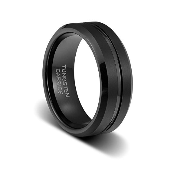 8mm Tungsten Carbide Ring Wedding Band Comfort Fit Black Beveled Edge Polished Brushed, Tungsten Ring, Heaven Culture Jewelry