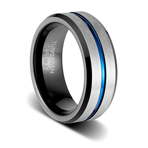 8mm Mens Wedding Band Silver Brushed with Blue Groove and Black Inside Tungsten Ring Comfort Fit, Tungsten Ring, Eversmart Beauty
