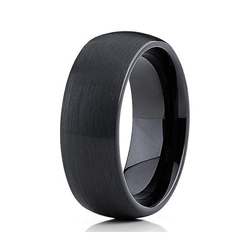 8mm Black Tungsten Carbide Wedding Band Brushed Dome Ring Comfort Fit Men & Women, Tungsten Ring, Heaven Culture Jewelry