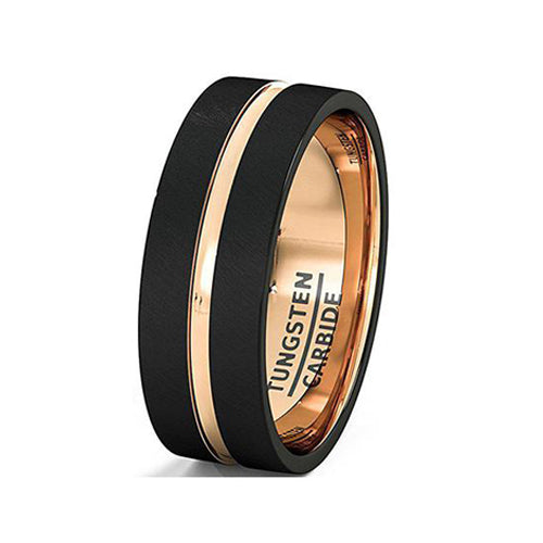 Mens Wedding Band Brushed Black Tungsten Ring 8mm Rose Gold Groove Flat Edge Comfort Fit, Tungsten Ring, Heaven Culture Jewelry