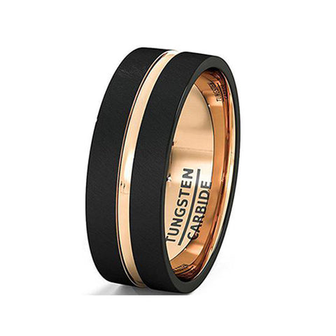 Mens Wedding Band Brushed Black Tungsten Ring 8mm Rose Gold Groove Flat Edge Comfort Fit, Tungsten Ring, Eversmart Beauty