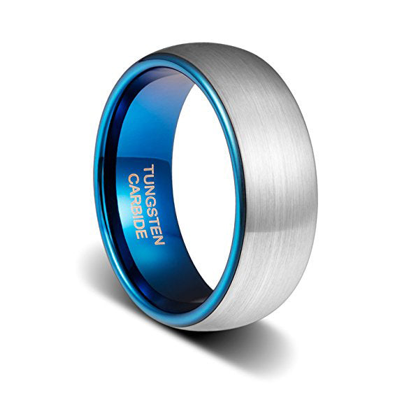 8mm Tungsten Wedding Band Ring Dark Blue Plated Inside Comfort Fit, Tungsten Ring, Heaven Culture Jewelry
