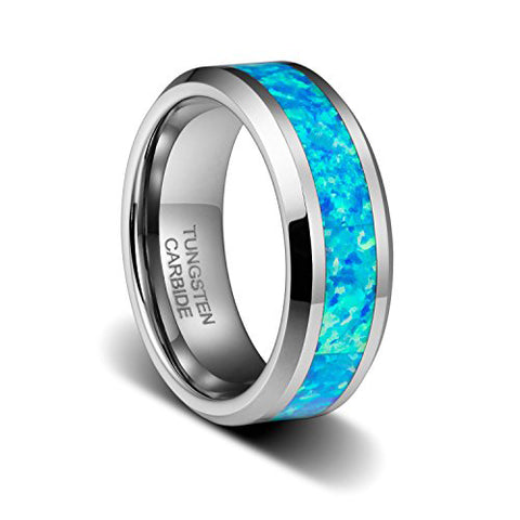 8mm Polished Wedding Band with Genuine Blue Opal Inlay Tungsten Ring Beveled Birthstone, Tungsten Ring, Heaven Culture Jewelry