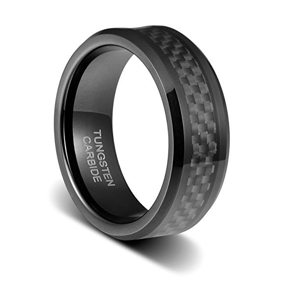 Mens Wedding Band 8mm Black Carbon Fiber Inlay Beveled Polished Edge Tungsten Ring, Tungsten Ring, Heaven Culture Jewelry