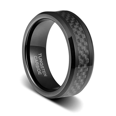 Mens Wedding Band 8mm Black Carbon Fiber Inlay Beveled Polished Edge Tungsten Ring, Tungsten Ring, Eversmart Beauty