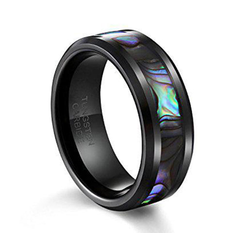 8mm Tungsten Wedding Band Natural Abalone Shell Inlay Black Tungsten Carbide Ring, Tungsten Ring, Eversmart Beauty