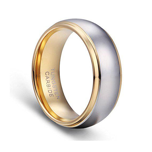 Men's Wedding Bands 18K Gold Plated Tungsten Wedding Ring Band Comfort Fit 8MM, Tungsten Ring, Heaven Culture Jewelry