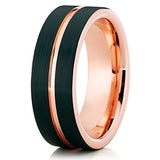 8mm Rose Gold Tungsten Carbide Wedding Ring Black Grooved Comfort Fit Band Mens Womens Unisex, Tungsten Ring, Heaven Culture Jewelry