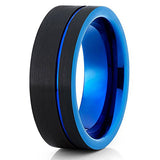 Blue Tungsten Wedding Band Men & Women Black Tungsten Ring Anniversary Ring Engagement Ring Comfort Fit, Tungsten Ring, Eversmart Beauty