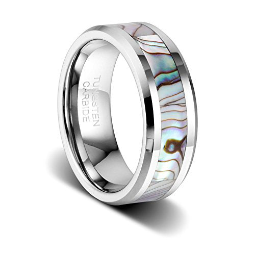 8mm Tungsten Wedding Band Natural Abalone Shell Inlay Tungsten Carbide Ring, Tungsten Ring, Heaven Culture Jewelry