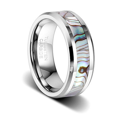 8mm Tungsten Wedding Band Natural Abalone Shell Inlay Tungsten Carbide Ring, Tungsten Ring, Eversmart Beauty