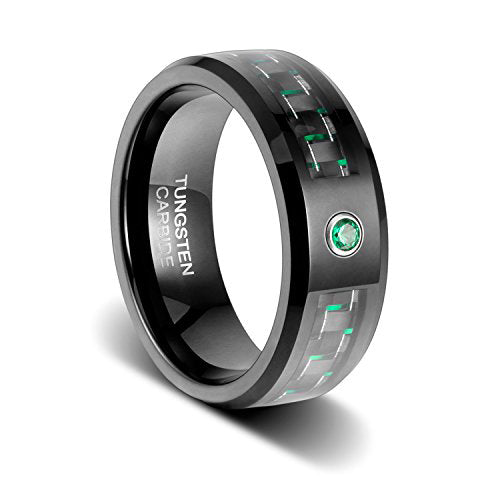 8mm Enoch Emerald Green Carbon Fibre with Beveled Edges Cubic Zirconia Inlay Tungsten Ring, Tungsten Ring, Eversmart Beauty