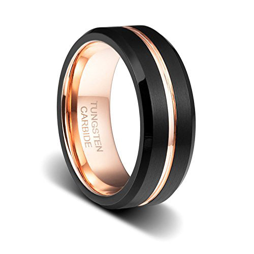 8mm Tungsten Wedding Band Ring Rose Gold Plated Inlay Groove Brushed Beveled Edge, Tungsten Ring, Eversmart Beauty