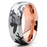 8mm Host of Heaven Rose Gold Tungsten Carbide Wedding Band 18k Rose Gold Men & Women Tungsten Wedding Band, Tungsten Ring, Heaven Culture Jewelry