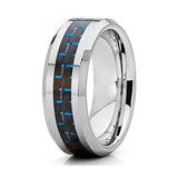 Blue Tungsten Wedding Band Carbon Fiber Tungsten Ring 8mm Tungsten Wedding Band Men & Women Anniversary Ring Beveled Edges Comfort Fit, Tungsten Ring, Heaven Culture Jewelry
