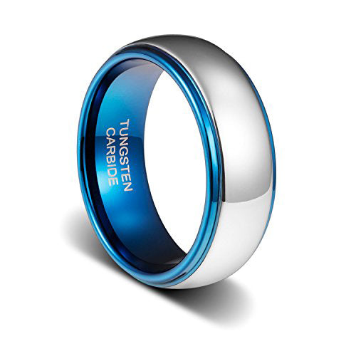 8mm Mens Wedding Band Dark Blue Plated Inside Tungsten Ring, Tungsten Ring, Eversmart Beauty