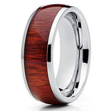 8mm Titanium Koa Wood Contemporary Design Comfort Fit Ring, Tungsten Ring, Eversmart Beauty