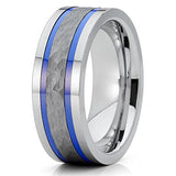 8mm Gray Tungsten Wedding Band Hammered Tungsten Wedding Band Comfort Fit Blue Tungsten Ring, Tungsten Ring, Eversmart Beauty