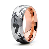 8mm Host of Heaven Rose Gold Tungsten Carbide Wedding Band 18k Rose Gold Men & Women Tungsten Wedding Band, Tungsten Ring, Eversmart Beauty