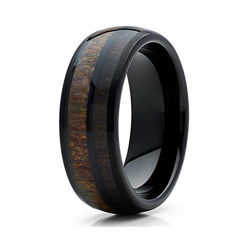 8mm Deer Antler Tungsten Carbide Wedding Band Cherry Wood Two Tone Ring Comfort Fit, Tungsten Ring, Eversmart Beauty