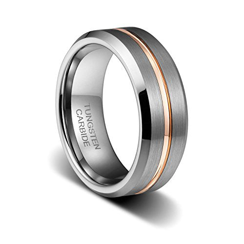 8MM Mens Wedding Band Rose Gold Plated Grooved Line Beveled Edge Tungsten Ring, Tungsten Ring, Eversmart Beauty