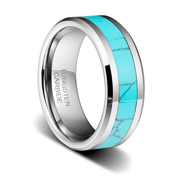 8MM Mens Birthstone Silver Tungsten Ring And Turquoise Inlay Beveled Edge Wedding Band, Tungsten Ring, Heaven Culture Jewelry