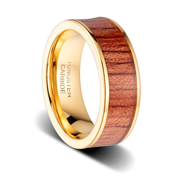 Wedding Band 8mm Red Oak Wood Inlayed, 18K Gold Plated, Pipe Cut Flat Tungsten Ring