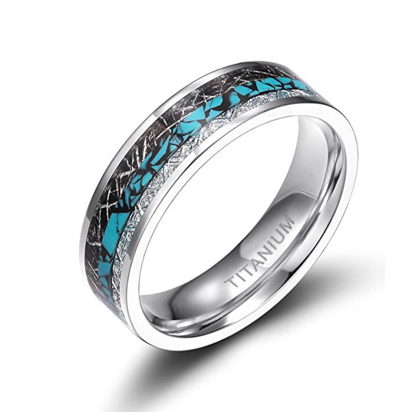 Titanium Turquoise Imitated Meteorite Inlaid Ring, Tungsten Ring, Heaven Culture Jewelry