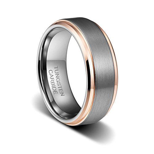 8mm Rose Gold Tungsten Carbide Ring Wedding Band for Men Women High Polish Comfort Fit, Tungsten Ring, Eversmart Beauty
