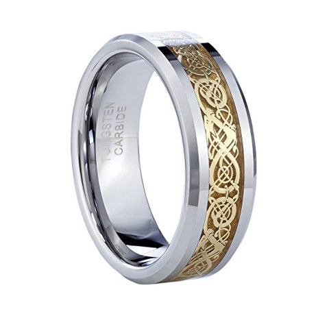 8mm Gold Plated Heaven's Aragon Tungsten Ring, Tungsten Ring, Heaven Culture Jewelry