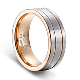 8mm Men's Double Grooved Rose Gold Plated Wedding Band Ring Tungsten Rings, Tungsten Ring, Eversmart Beauty