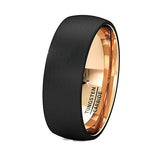 Mens Wedding Band Two Tone Black Rose Gold Tungsten Ring Brushed Center Dome 8mm Comfort Fit, Tungsten Ring, Heaven Culture Jewelry