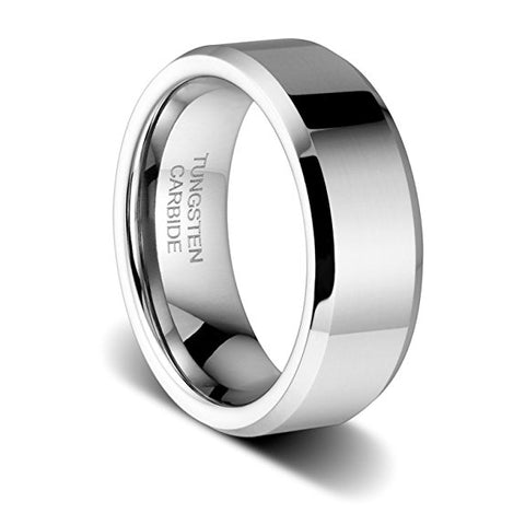 8mm Tungsten Ring High Polished Finish Wedding Band Engagement Ring, Tungsten Ring, Eversmart Beauty