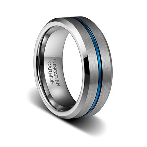 8mm Mens Wedding Band Thin Blue Groove Matte Brushed Tungsten Carbide Ring, Tungsten Ring, Eversmart Beauty