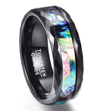 8mm Abalone Shell & Polished Black Faceted Tungsten Carbide Ring, Tungsten Ring, Heaven Culture Jewelry