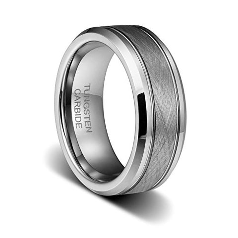 8mm Mens Wedding Band Handle Brushed Two Grooved Polished Beveled Edges Tungsten Ring, Tungsten Ring, Eversmart Beauty