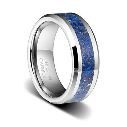 8mm Men's Birthstone Polished Wedding Band With Blue Lapis Inlay&Beveled Edges Tungsten Ring, Tungsten Ring, Eversmart Beauty