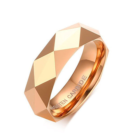 6mm Diamond Faceted Tungsten Carbide Wedding Band Rings For Men Women Polished Beveled Edge Comfort Fit, Tungsten Ring, Heaven Culture Jewelry